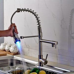 Rozin Single Handle Swivel LED Pull Out Kitchen Sink Faucet